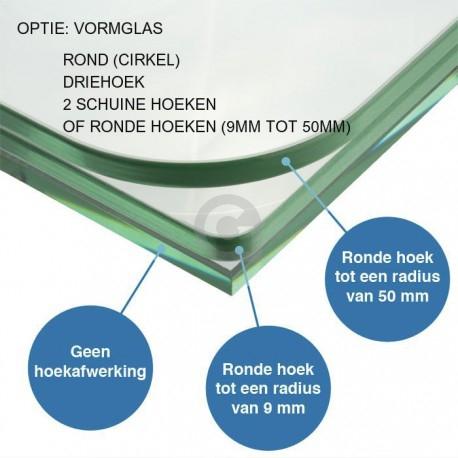 Afwerking ronde hoeken glas