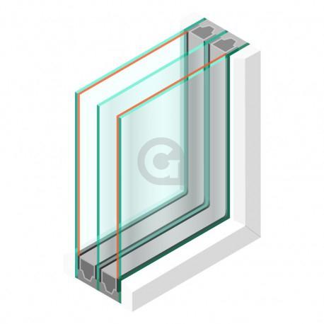 Triple glas HR+++ - Ets/Satinglas 4mm - sp -#4mm - sp - #4mm